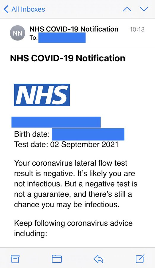 Screenshot of an email Covid result from the NHS