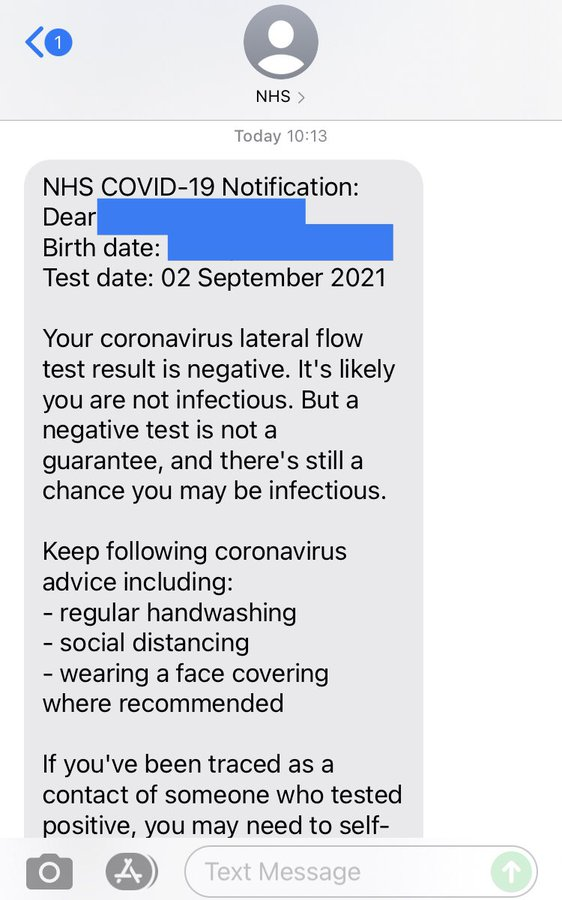 Screenshot of an SMS Covid test result from the NHS